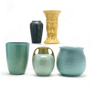 Five Vintage Signed Pottery Vases