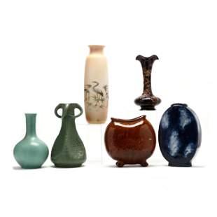 Six Art Pottery Vases