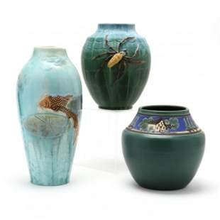 Three Contemporary Art Pottery Vases, Door Pottery