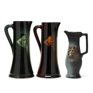 Three Zanesville Pottery Tall Pitchers, La Moro Line