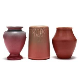 Three Vintage Arts & Crafts Pottery Vases