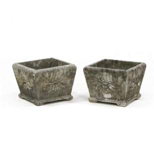 Small Pair of Cast Stone Planters