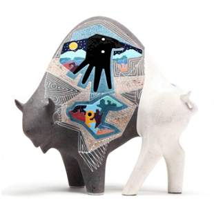 Gene & Rebecca Tobey (American), Ceramic Buffalo