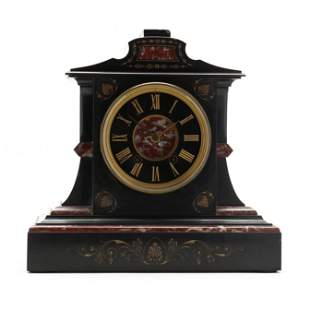 A Grecian Revival Slate & Rouge Marble Mantel Clock