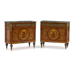 Pair of French Empire Style Marble Top Inlaid Commodes