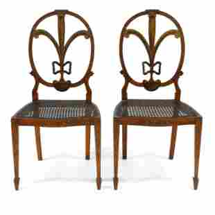 Pair of Adams Style Painted Fruitwood Side Chairs