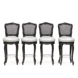 Four French Provincial Style Cane Back Barstools