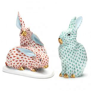 Two Herend Porcelain Rabbits
