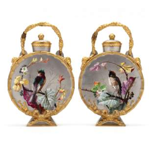 Pair of French Porcelain Moon Flasks