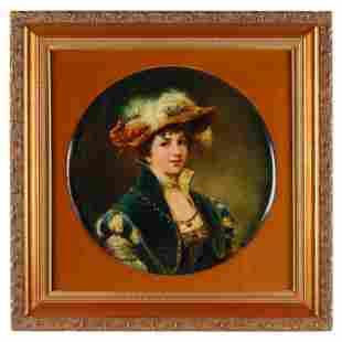 Portrait Painted Porcelain Charger, Framed