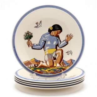 Five Vernon Kilns Salamina Rockwell Kent Plates