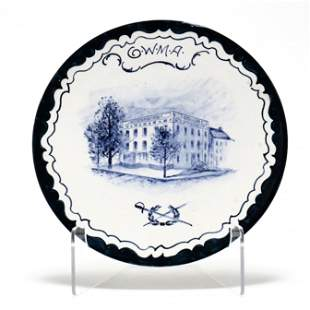 """Volkmar Decorated Pottery Plate """"The First White House"""""""