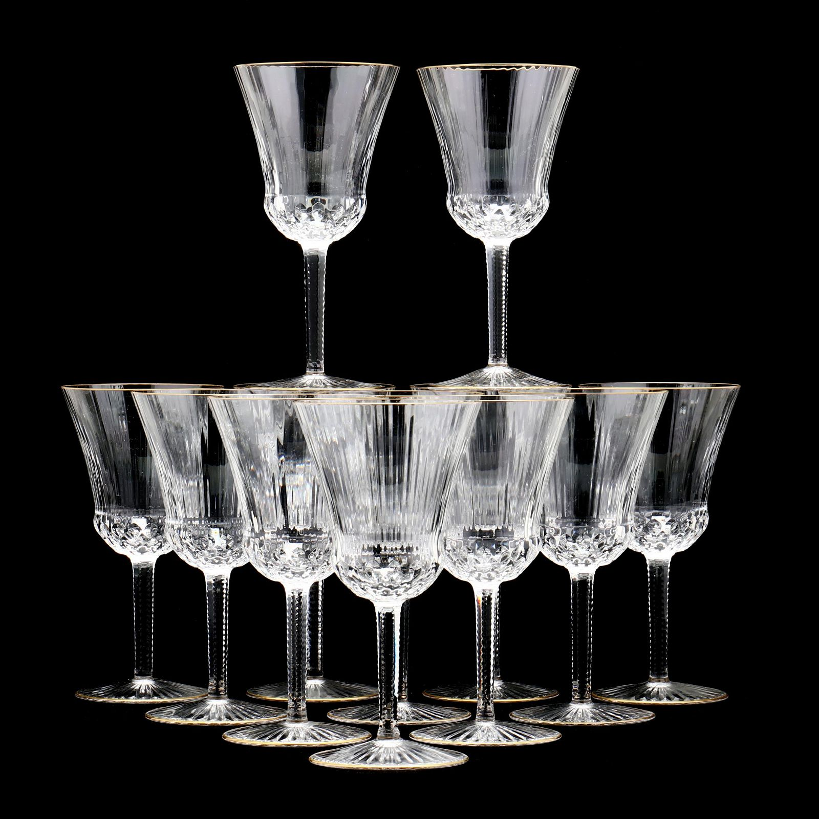 St. Louis, Twelve Apollo Gold Crystal Goblets