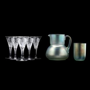 Boudoir Art Glass Pitcher and Etched Crystal Cordial