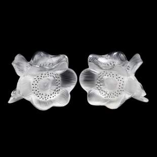 Lalique, Pair of Crystal Anemones Candleholders