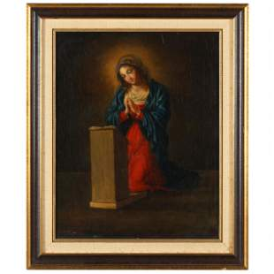An Antique Italian School Painting of the The Virgin
