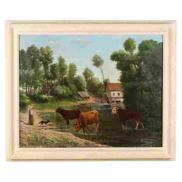 Antique French School Farm Scene