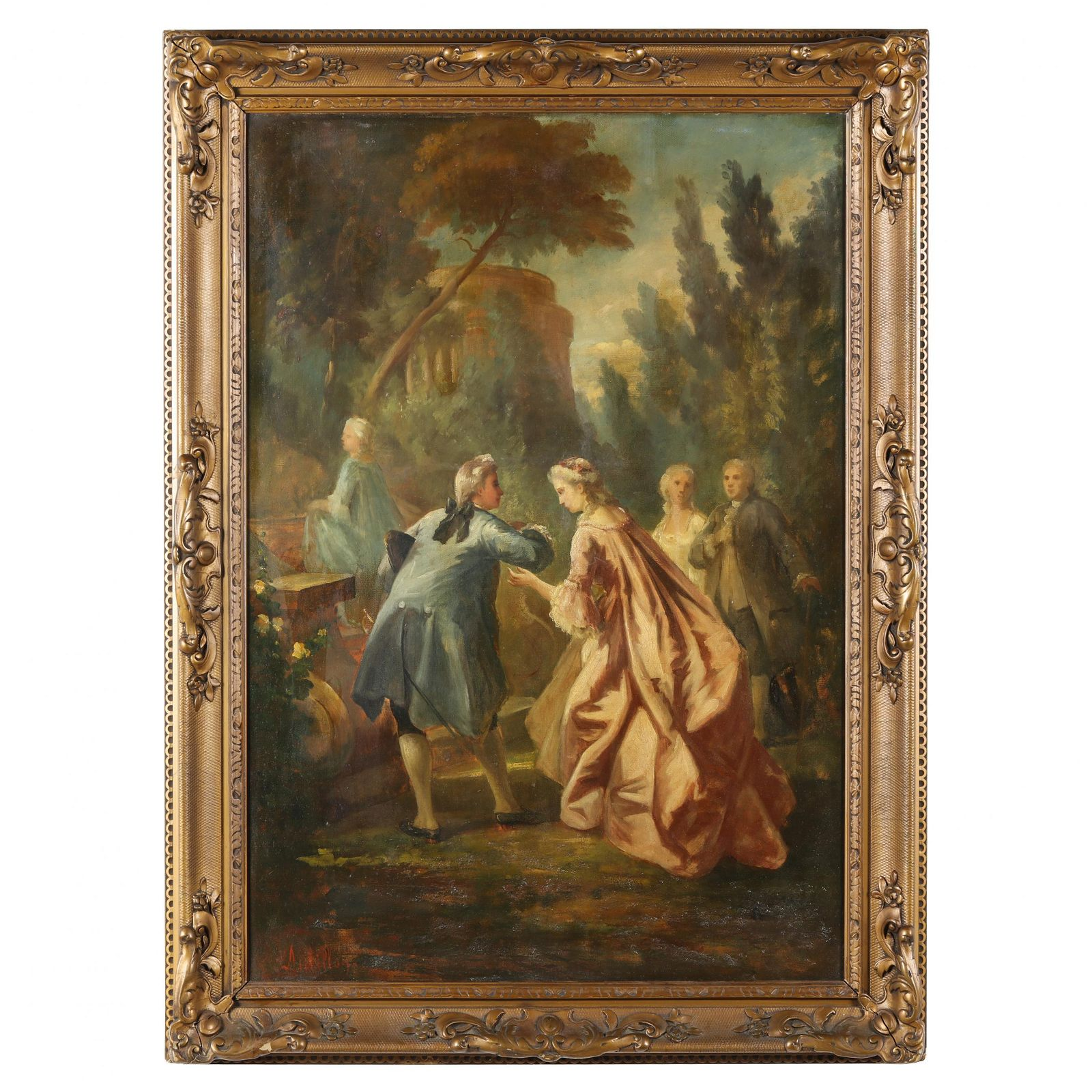 French School (circa 1900), Garden Scene with Courtly