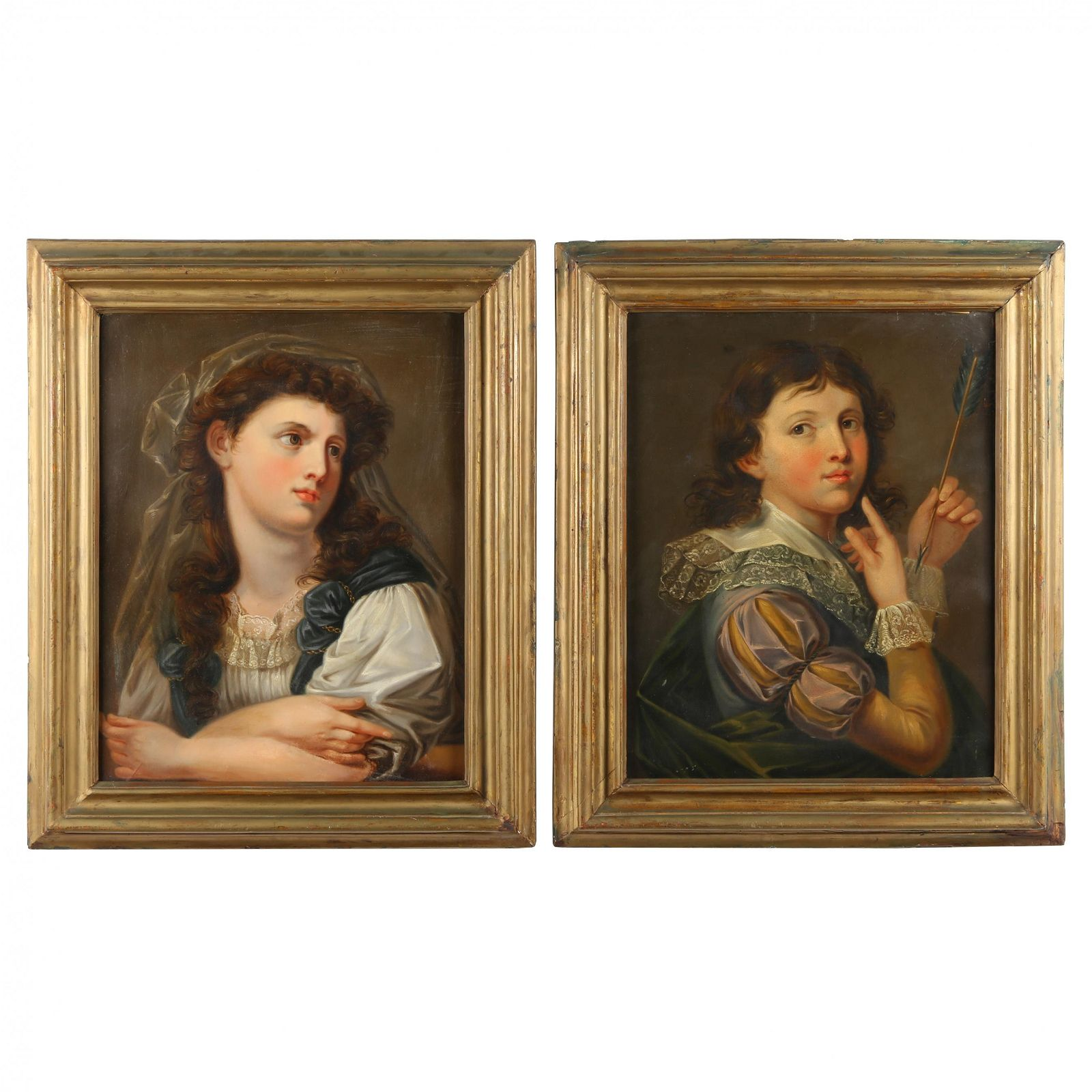 French School (19th century), A Pair of Portraits