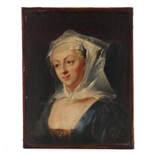 Antique Continental Portrait of A Young Woman