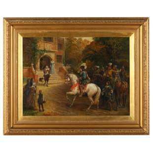 Late 19th Century Painting of Visiting Cavaliers and