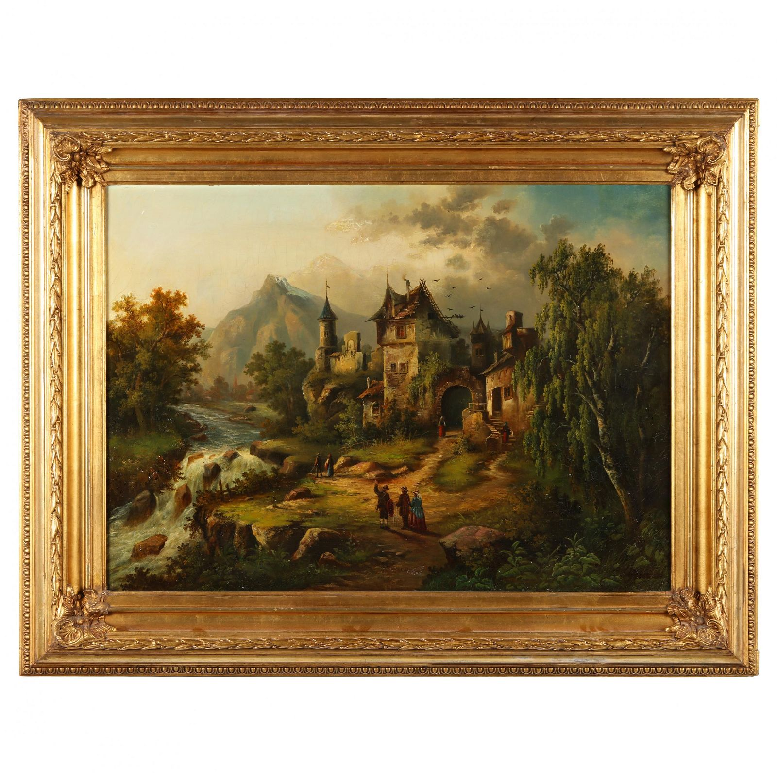 Antique Bavarian Landscape Painting with Travelers