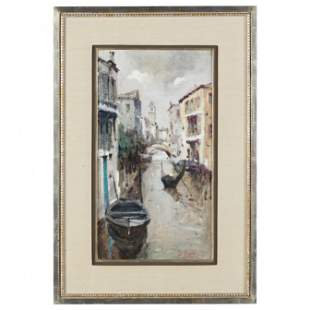 Vintage Painting of a Venetian Canal