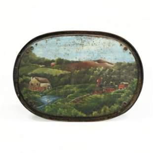 Folk Art Painted Iron Panel