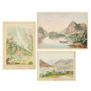 German School (19th Century), Three Landscape
