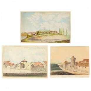 German School (19th Century), Three Townscape