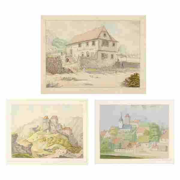 German School (19th Century), Three Scenic Watercolors