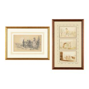 Two Antique German School Works on Paper