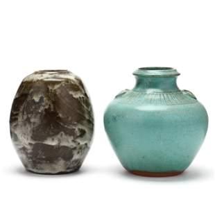 Two Jugtown Vases, (NC)