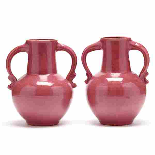 A Pair of Two Handled Vases, Attributed C. C. Cole