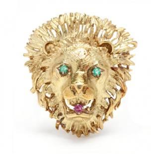 Gold and Gem-Set Lion Motif Brooch