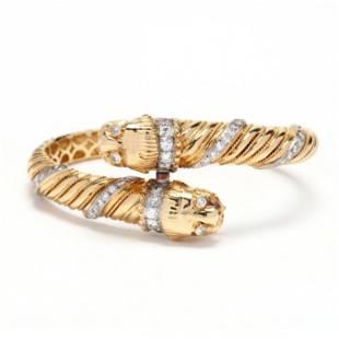 Gold and Diamond Lion Motif Bracelet, signed