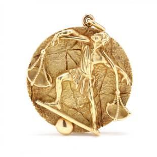 "Vintage 18KT Gold ""Libra"" Zodiac Pendant, Tiffany & Co."