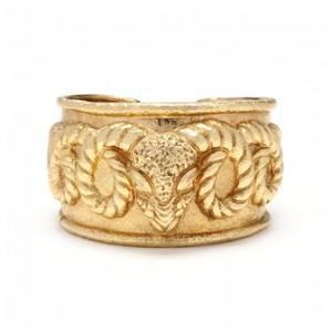 18KT Gold Ram's Head Cuff Bracelet, David Webb