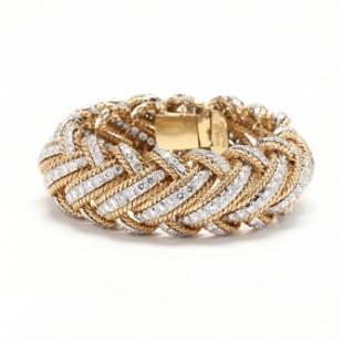 18KT Gold, Platinum, and Diamond Bracelet, David Webb