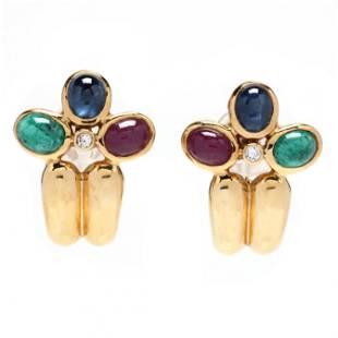 Gold and Gem-Set Hoop Earrings, signed