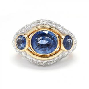 Bi-Color Gold, Sapphire, and Diamond Ring