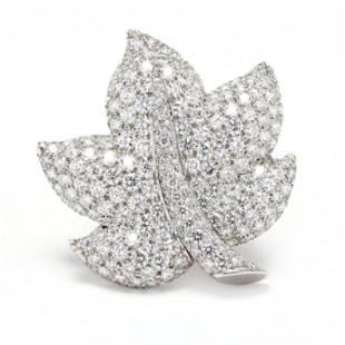 Platinum and Diamond Foliate Brooch, Jean Vitau