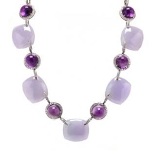 Amethyst, Lavender Jade, and Diamond Necklace, Eclat