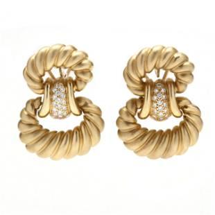 18KT Gold and Diamond Hoop Earrings, SeidenGang