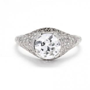 Antique Platinum and Diamond Ring