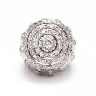 Modernist Platinum and Diamond Ring