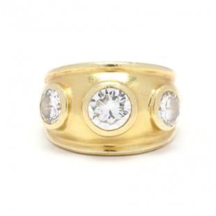 Gold and Three Stone Diamond Ring