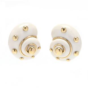 18KT Gold, Cocholong Opal, and Gold Dot Earrings,