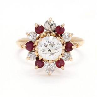 Old European Brilliant Cut Diamond and Ruby Ring