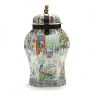 A Chinese Porcelain Hexagonal Jar with Cover